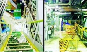 事故発生から約2時間後の9日午後5時半、救急隊が突入して撮影した関西電力 美浜原発3号機のタービン建屋内=福井県美浜町(敦賀美方消防組合提供)