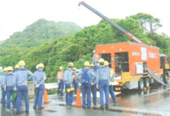 関西電力大飯原発で大容量ポンプ車を使った訓練風景=福井県おおい町
