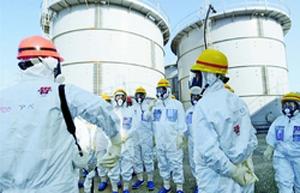 (写真)日本共産党の志位委員長らが視察した福島第1原発敷地内の汚染水貯留タンク=ことし3月