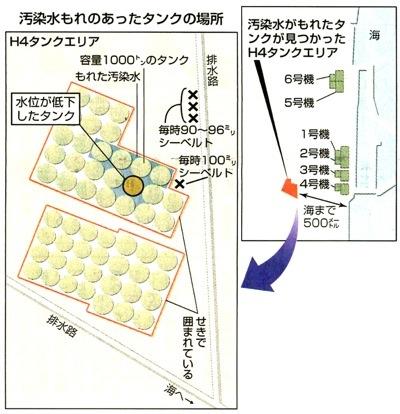 東京電力福島第1原発で、貯蔵タンクから放射能汚染水が漏れてできた水たまり=8月19日、同原発(東電提供)