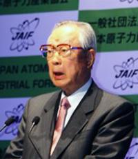 原産大会で所信表明する今井敬原産協会会長=4月15日、東京国際フォーラム