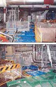 美浜原発3号機のタービン建屋の内部。散乱しているのは定期検査準備のため、持ち込まれた資材(経済産業省のHPより)
