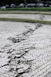 田んぼに走る亀裂=4月16日午後、熊本県益城町